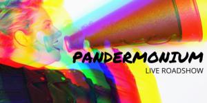 Katie holding megaphone with word Pandermonium