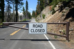 "The sign ""Road closed"" in Yosemite National Park, California, USA"