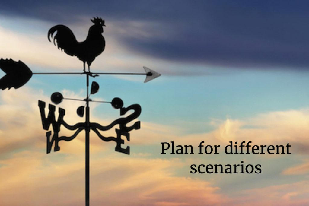 "image of weather vane in cloudy sky, with text ""Plan for different scenarios."""