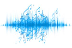 Interplay of sound wave and notes on the subject of music, audio and sound technology
