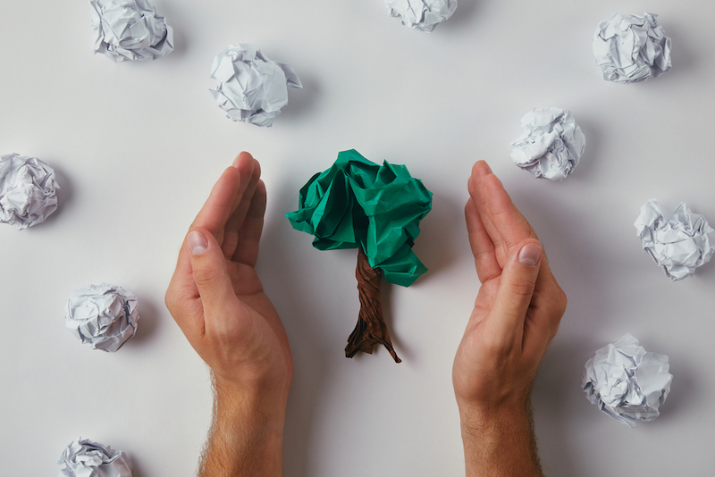 hands surrounding tree made of crumpled paper