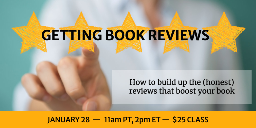 hand pointing to yellow stars, with title Getting Book Reviews