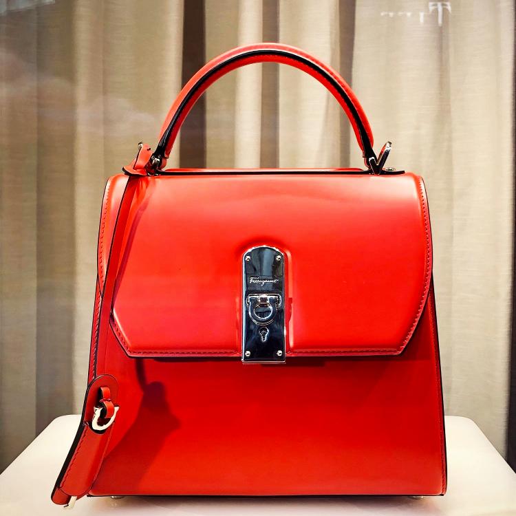 red Ferragamo handbag