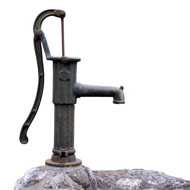 Old fashioned, hand-operated water pump