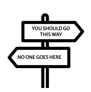 """sign post, with """"You should go this way"""""""