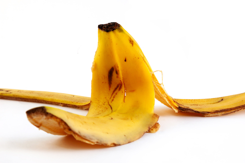 banana peel on white background